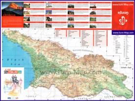 Туристическая карта Грузии с достопримечательностями