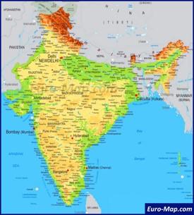 Физическая карта Индии