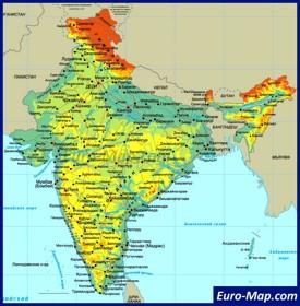 Карта Индии на русском языке с городами