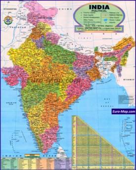 Подробная карта Индии с городами