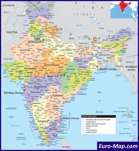 Политическая карта Индии