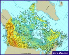 Карта Канады на русском языке с городами