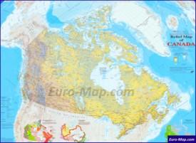 Подробная физическая карта Канады