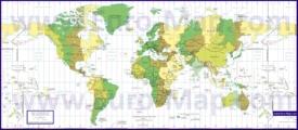 Карта часовых поясов мира