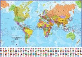 Политическая карта мира с флагами