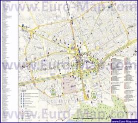 Подробная туристическая карта Тираны с отелями и достопримечательностями