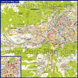 Подробная карта Инсбрука с достопримечательностями