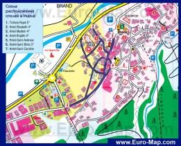 Туристическая карта Ишгля с отелями
