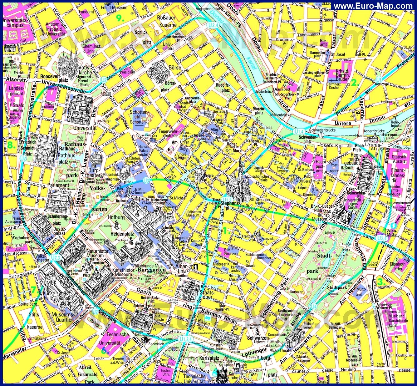Туристическая карта центра вены с