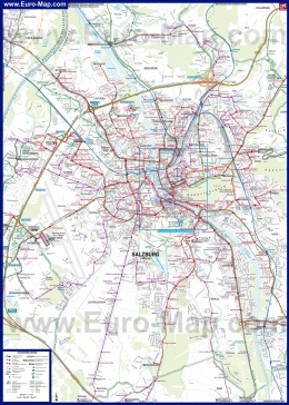Подробная карта Зальцбурга с окрестностями
