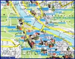 Туристическая карта центра Зальцбурга с достопримечательностями