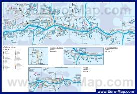 Подробная карта горнолыжного курорта Зёльден с отелями