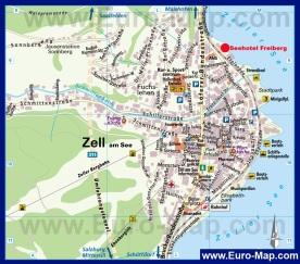 Туристическая карта Цель-ам-Зее с отелями