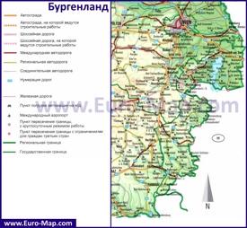 Подробная автомобильная карта дорог земли Бургенланд
