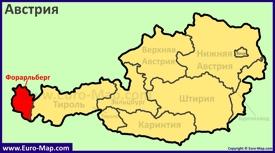 Земля Форарльберг на карте Австрии