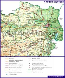 Подробная автомобильная карта дорог земли Нижняя Австрия