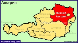 Земля Нижняя Австрия на карте Австрии