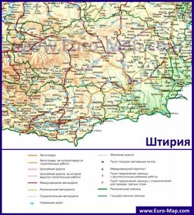 Подробная автомобильная карта дорог земли Штирия