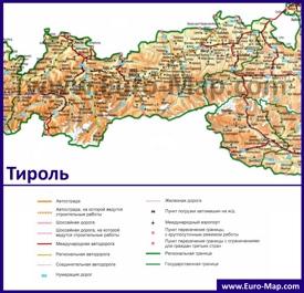 Подробная автомобильная карта дорог земли Тироль