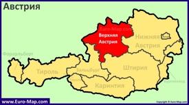 Земля Верхняя Австрия на карте Австрии