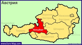 Земля Зальцбург на карте Австрии