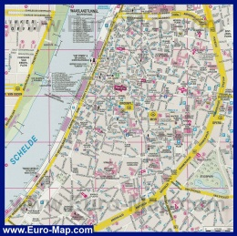 Карта города Антверпен