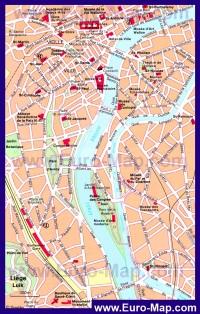 Карта достопримечательностей Льежа