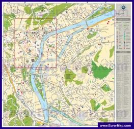 Подробная туристическая карта города Льеж с отелями