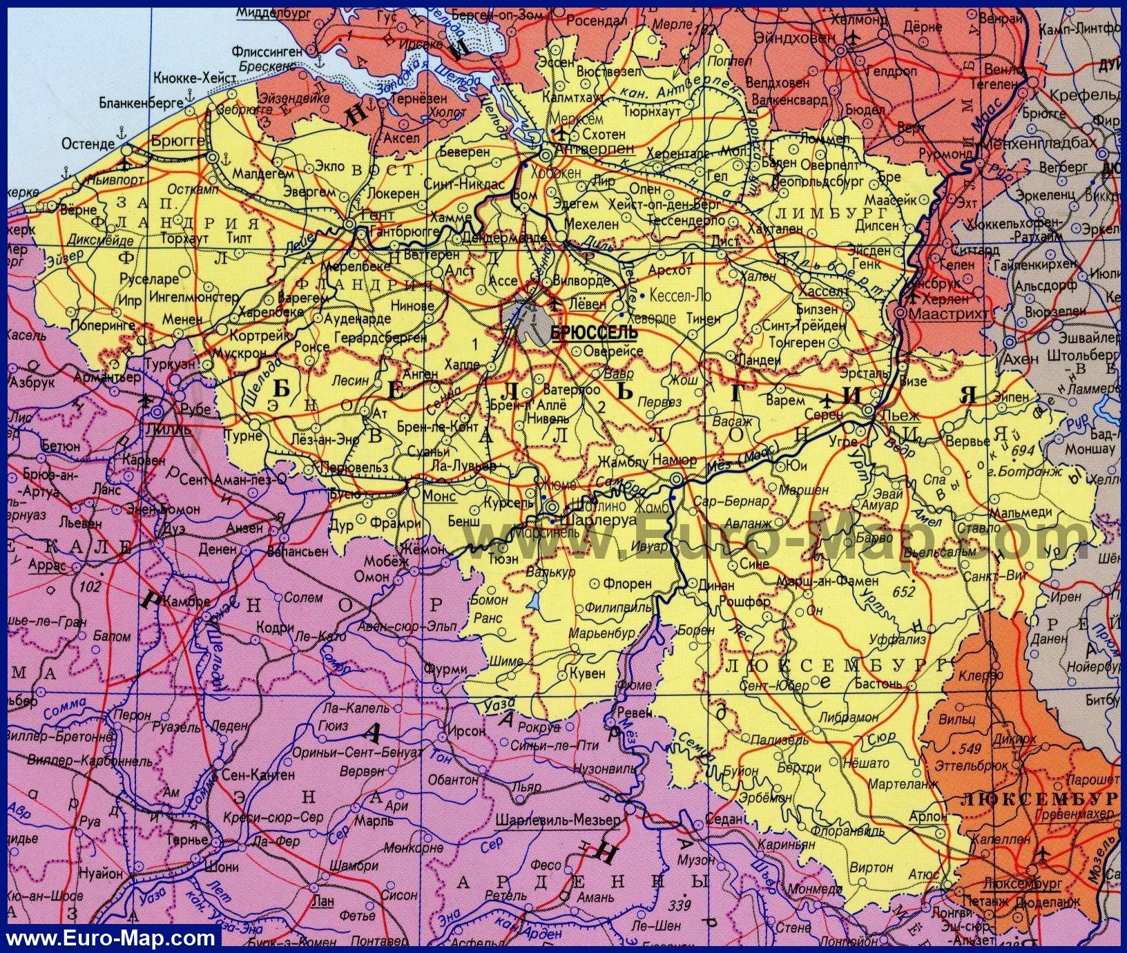 Подробная карта бельгии на русском