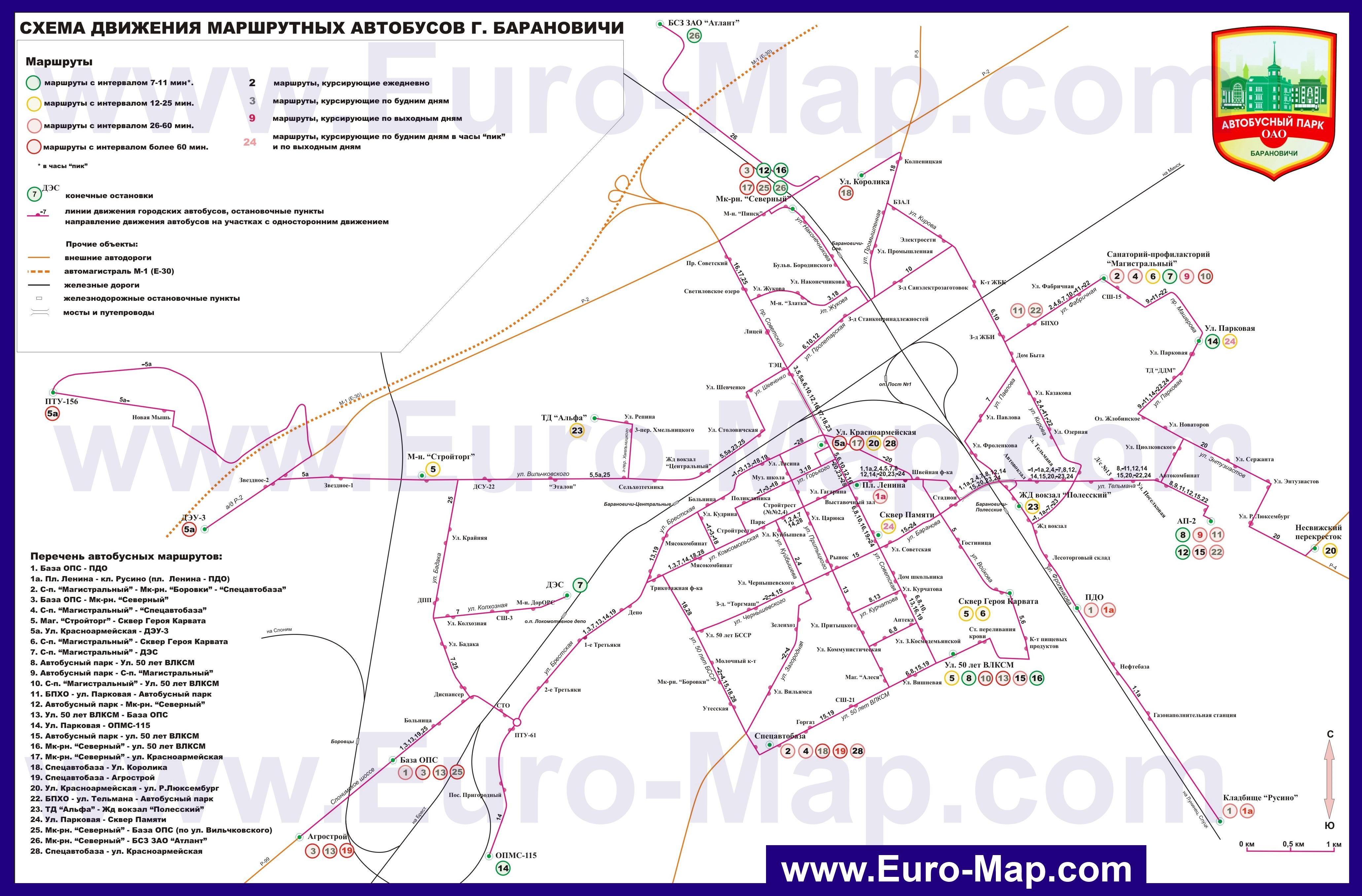 Подробная Карта Барановичей