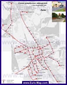 Карта маршрутов транспорта Лиды