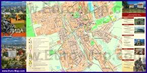 Подробная туристическая карта Лиды с достопримечательностями