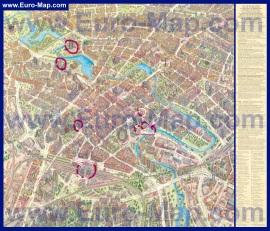 Подробная туристическая карта Минска с достопримечательностями