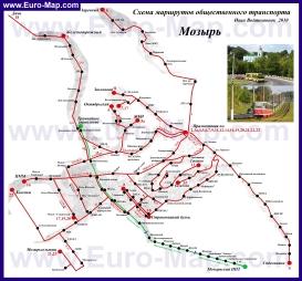 Карта маршрутов транспорта Мозыря