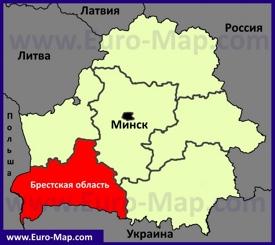 Брестская область на карте Беларуси