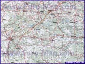 Подробная карта Брестской области с городами, деревнями и дорогами