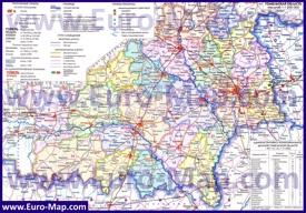 Административная карта Гомельской области с городами и деревнями
