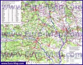 Физико-географическая карта Гомельской области