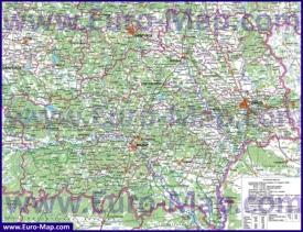 Подробная автомобильная карта Гомельской области с дорогами