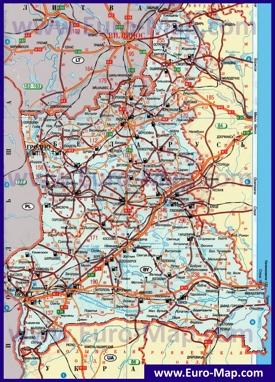 Автомобильная карта дорог Гродненской области