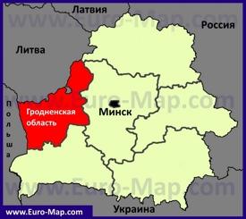 Гродненская область на карте Беларуси