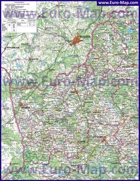 Подробная карта Гродненской области с городами и деревнями