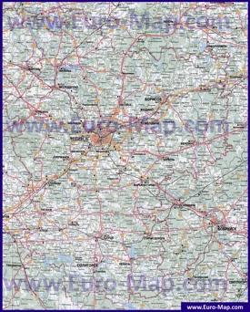 Автомобильная карта дорог Минской области