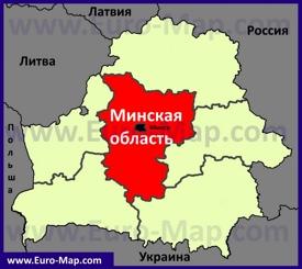Минская область на карте Беларуси