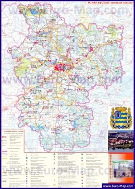 Туристическая карта Минской области с достопримечательностями