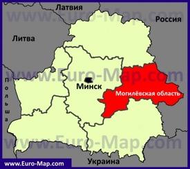 Могилёвская область на карте Беларуси