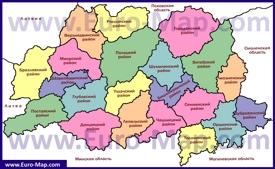 Административная карта районов Витебской области