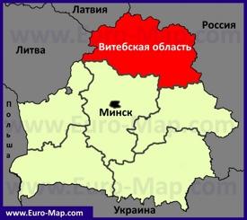 Витебская область на карте Беларуси