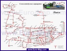 Карта маршрутов транспорта Пинска