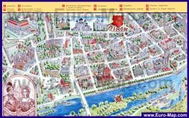 Туристическая карта Пинска с достопримечательностями